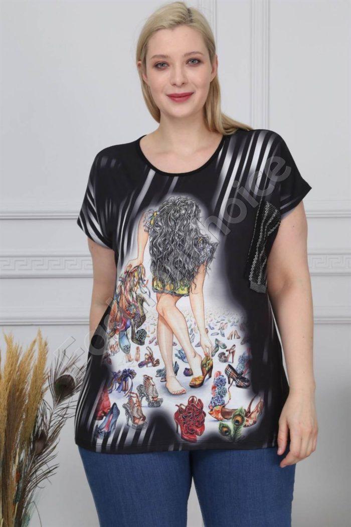 Макси блузка с щампа момиче и бляскави камъчета-код 880