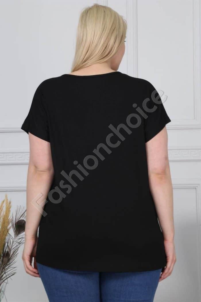 Блузка в черно с блестящи елементи/големи размери/-код 880-1