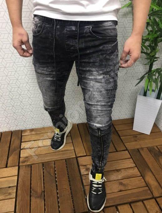 Модерни мъжки дънки с цип и ластик-код 7079