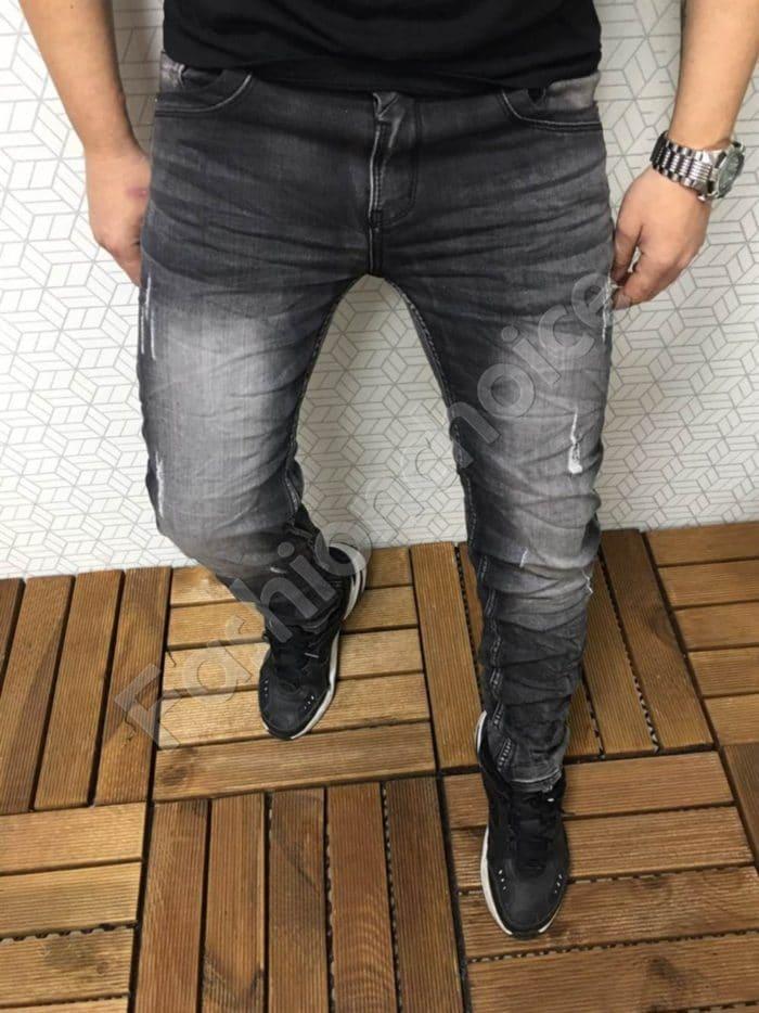 Мъжки дънки в черно с лек омбре ефект-код 7126
