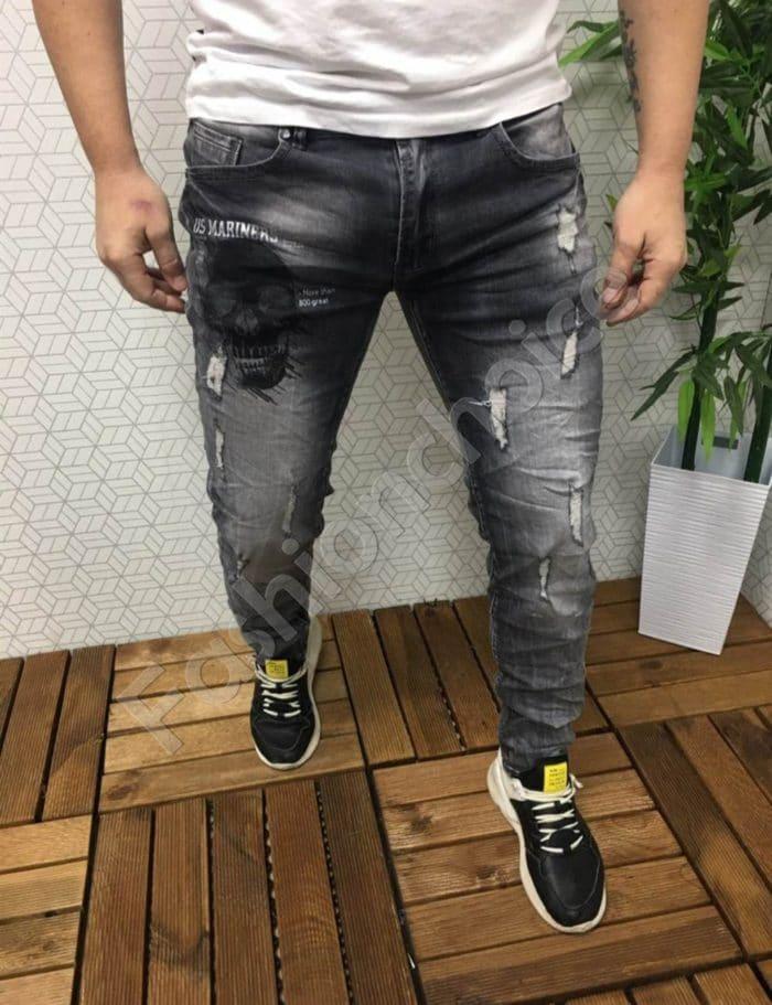 Модерни мъжки дънки в черно с щампа-код 7129