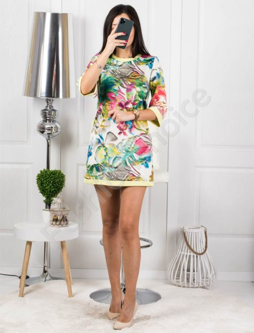 Дамска къса рокля на цветя - код 1223-2