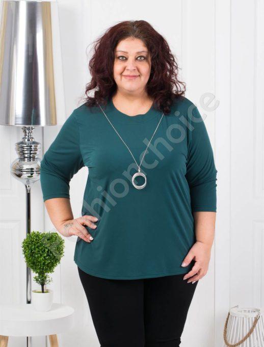 Едноцветна макси блуза с нежно колие в зелено