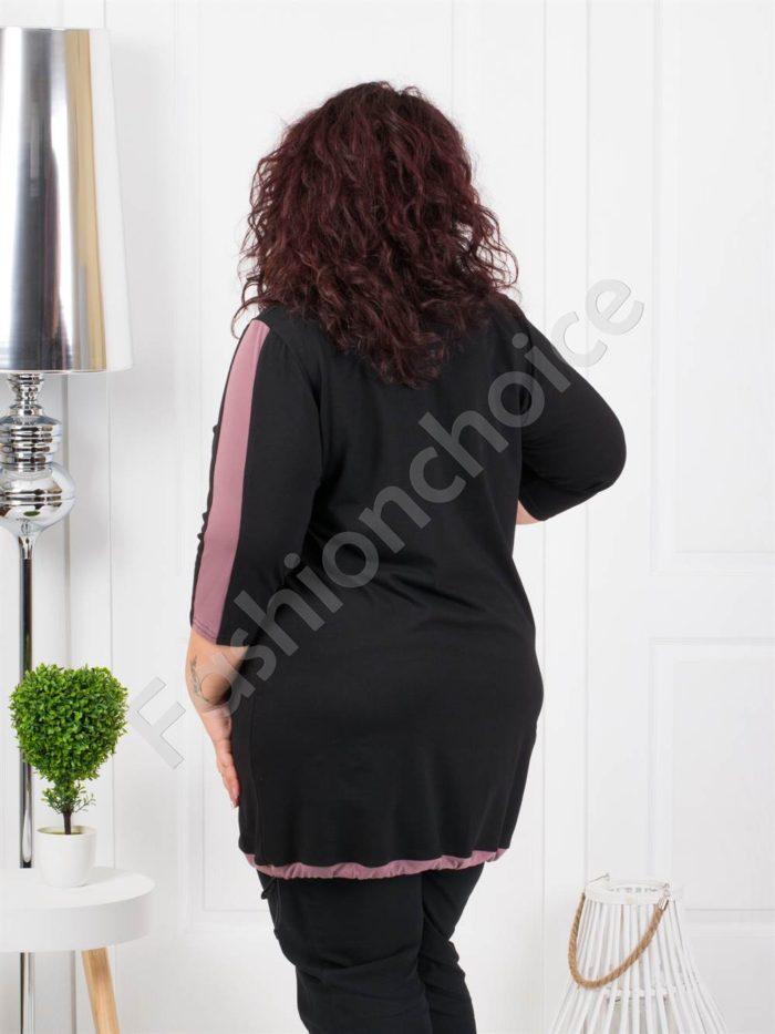 Дамска макси туника в красив цветен десен и джобче