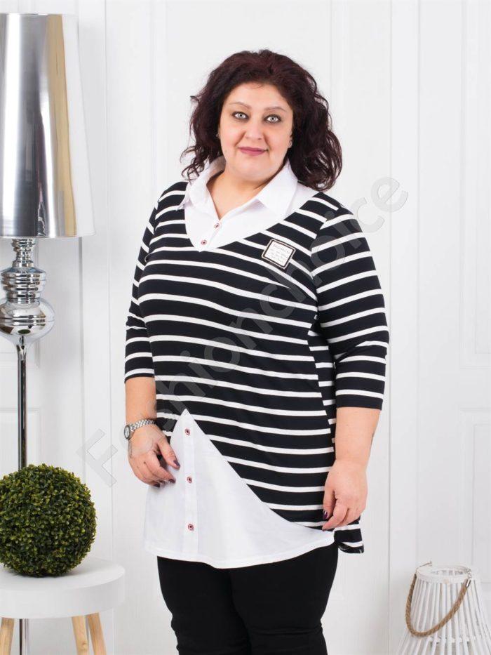 Елегантна туника тип риза на черно райе