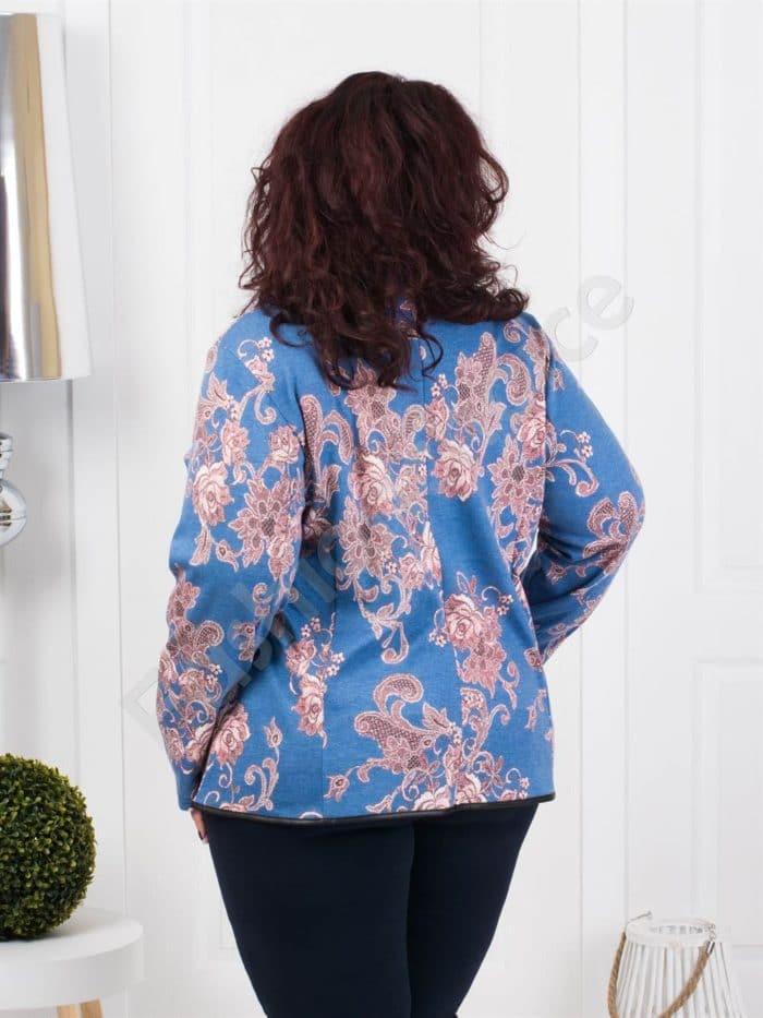 Елегантен макси жакет с цип в дънково синьо с керемида