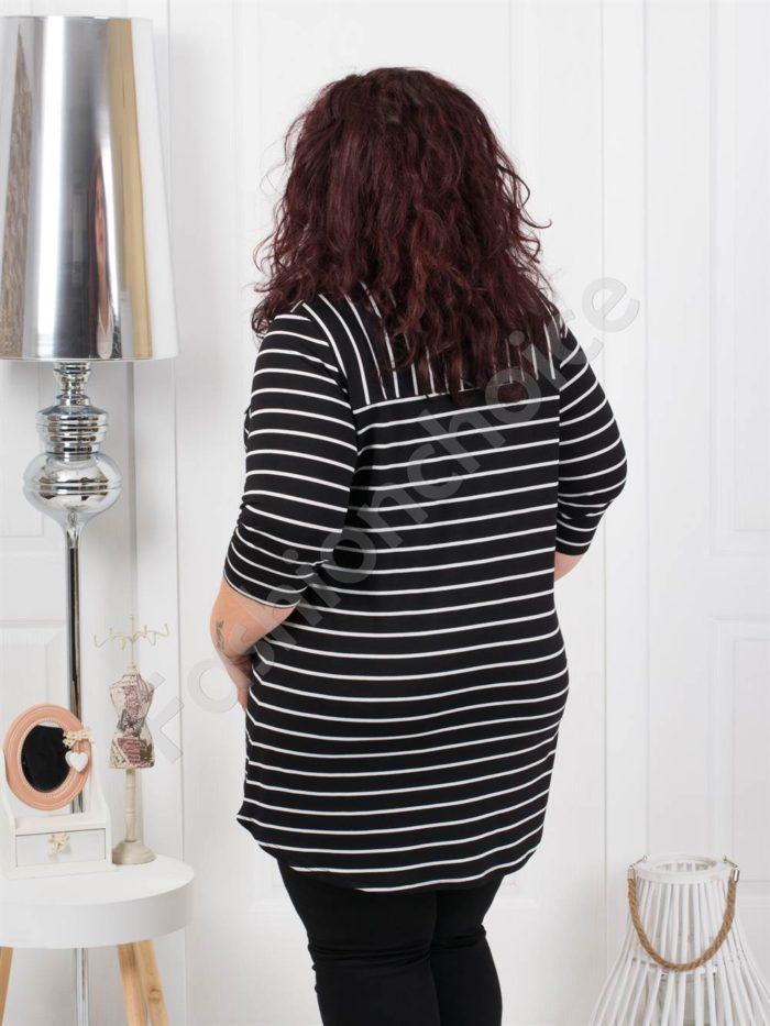Елегантна туника тип риза на черно райе-код 1178