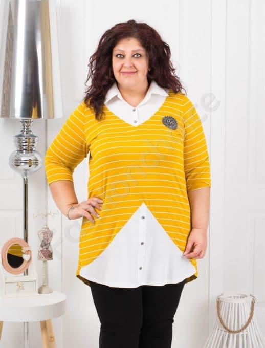 Елегантна туника тип риза на райе в цвят горчица-код 1178-2