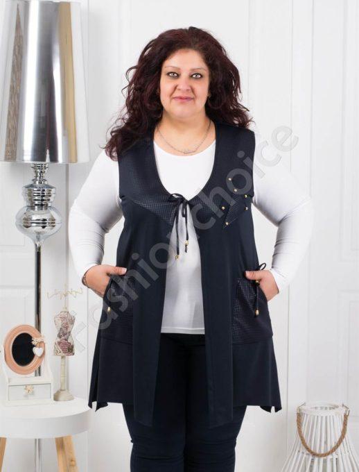 Красив дамски макси елек с украсителни кабси