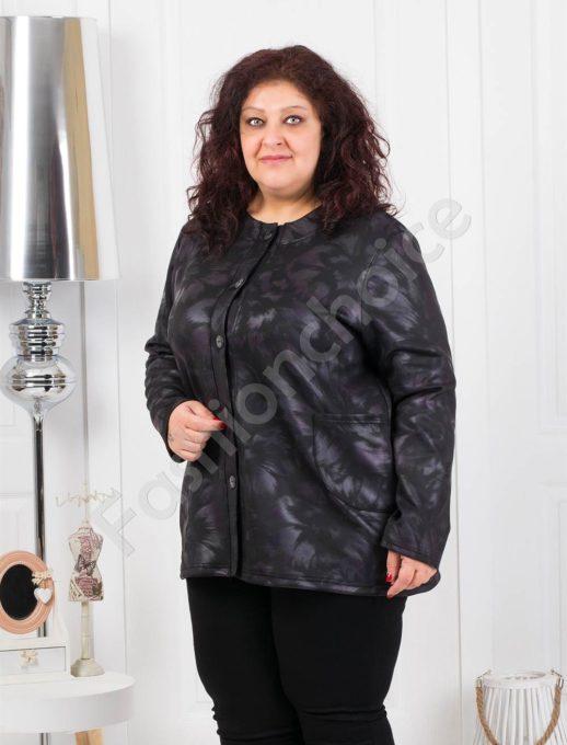 Дамски макси жакет с копченца в черно с лилаво-Код 1057-3