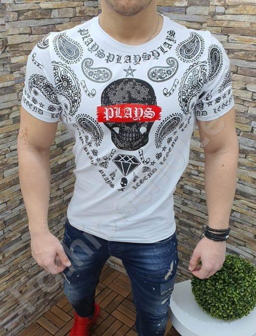 Мъжка тениска с интересна щампа и камъчета в бяло-369-1