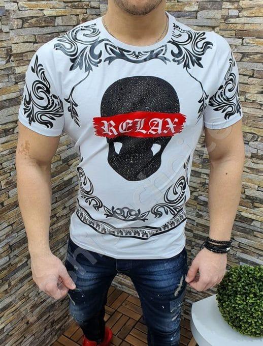 Мъжка тениска в бяло-код 3608-1