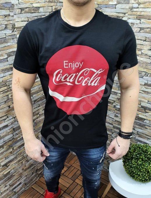 Черна мъжка блуза с надпис Coca Cola-код 22