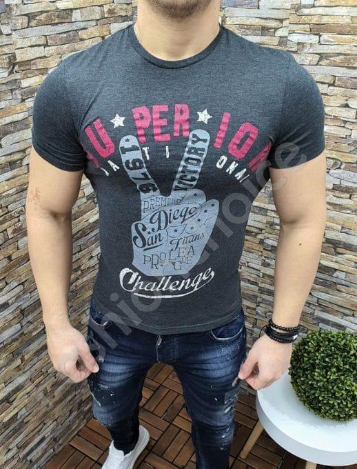 Мъжка тениска SUPERIOR в тъмен графит-код 391-3