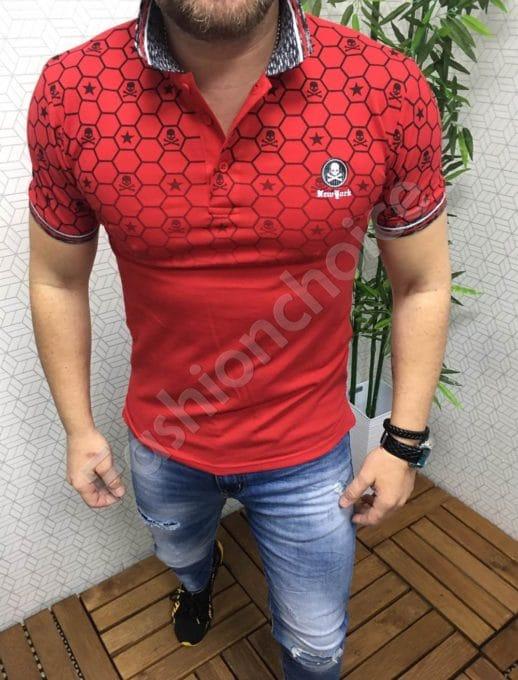 Мъжка блуза с якичка и щампа черепчета