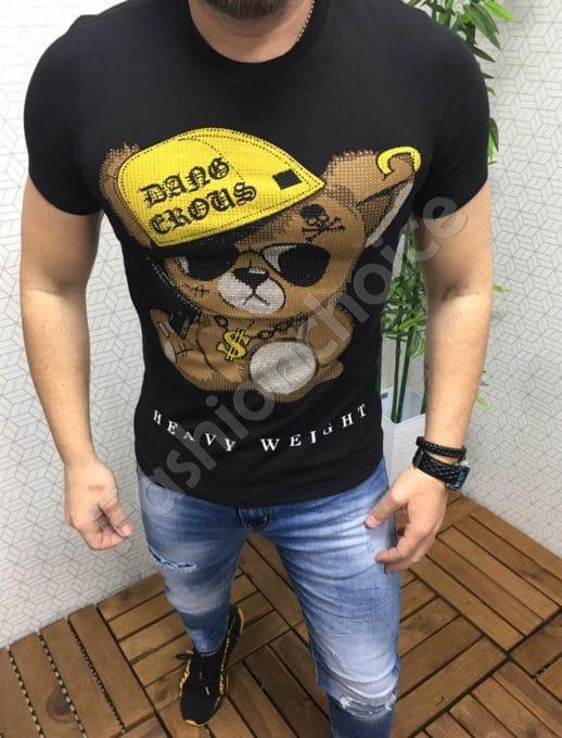 Мъжка тениска с камъчета и щампа мече