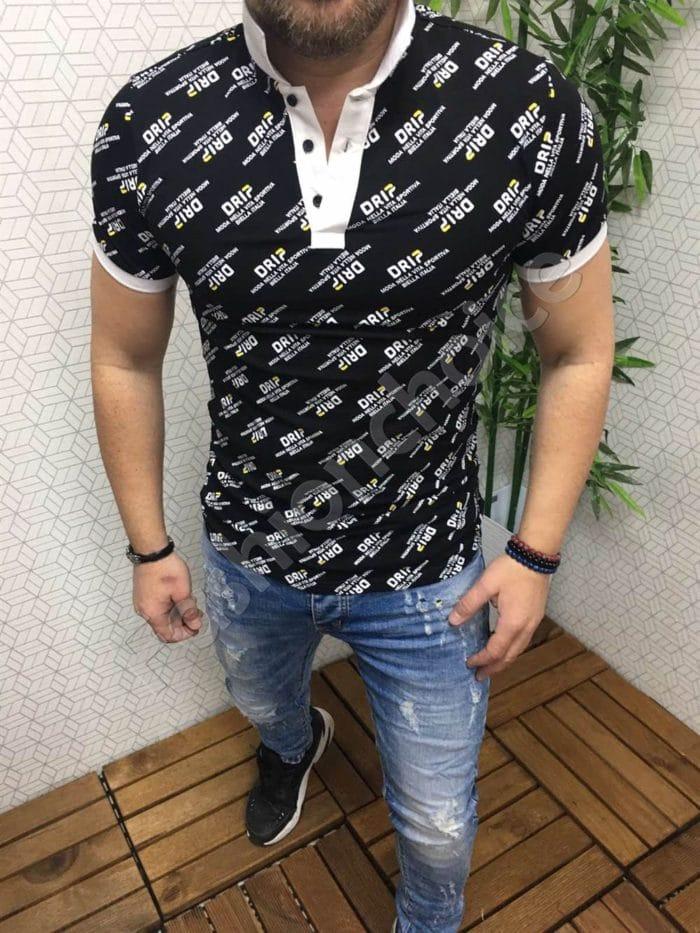 Мъжка блуза в черно с бяла якичка