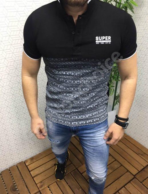 Мъжка блуза с якичка в черно и сиво с надпис