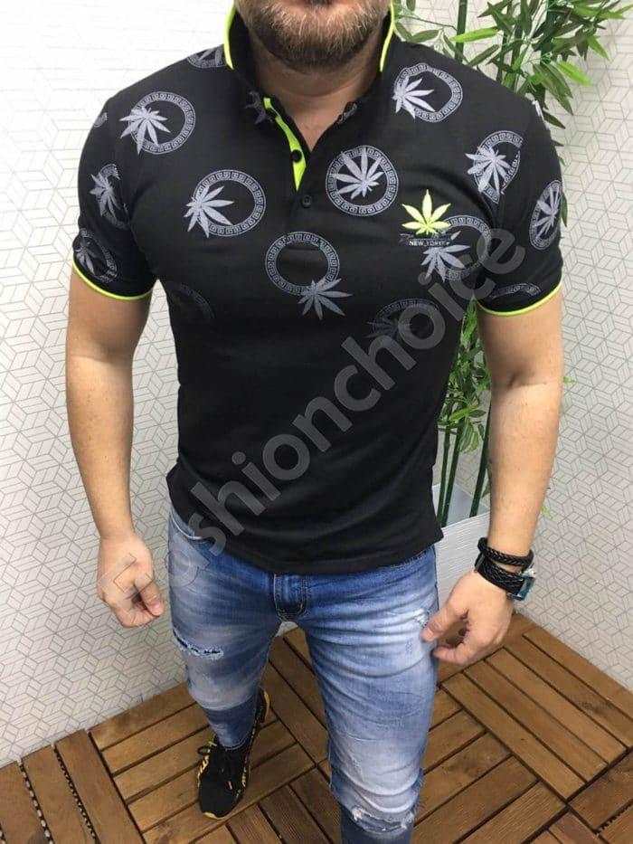 Мъжка блуза с якичка и моден принт в черно със зелен неон