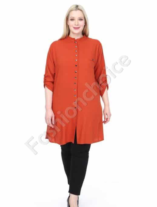 Дълга макси риза в чудесен цвят керемида-код 1413-14
