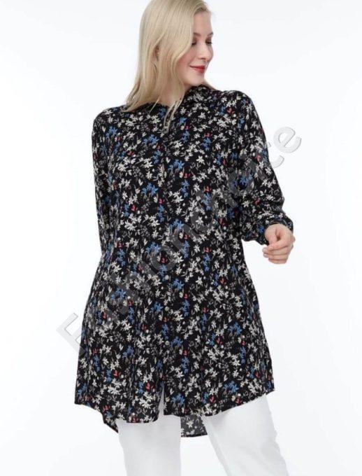 Черна дълга макси риза на ситни цветчета в синьо-код 1413-15