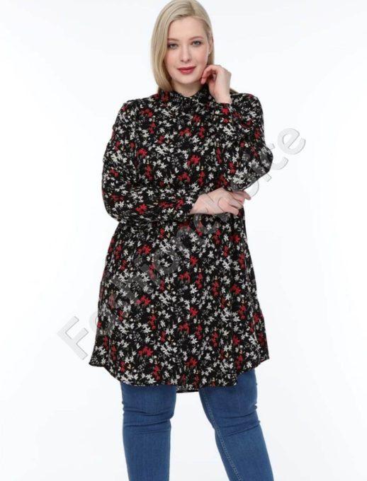 Черна дълга макси риза на ситни червени цветчета-код 1413-16