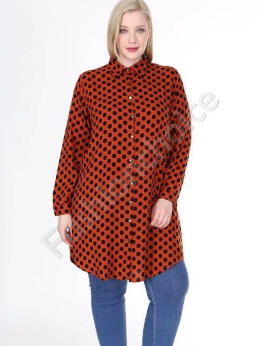 Дълга макси риза в цвят керемида на черни точки-код 1413-17