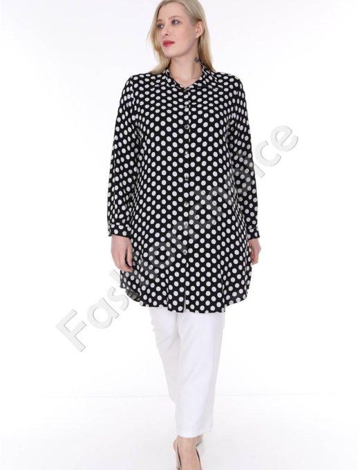 Дълга черна макси риза на бели точки-код 1413-19
