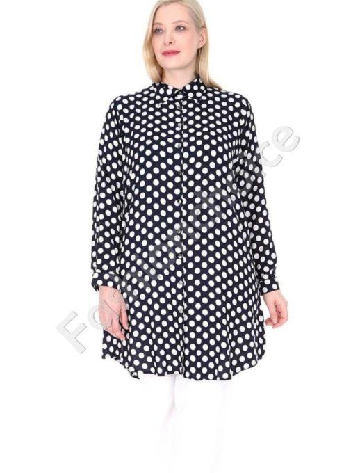 Дълга макси риза в тъмносин цвят на бели точки-код 1413-18