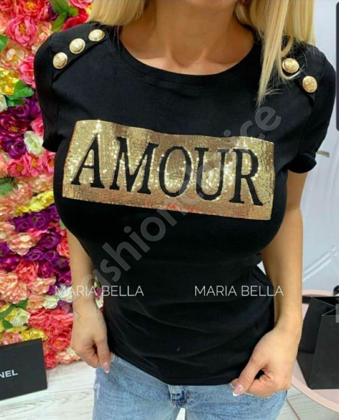 Дамска блуза с пайети и надпис AMOUR