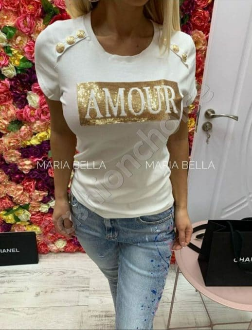Дамска блуза AMOUR с пайети и златни копчета