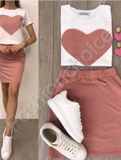 Нежен дамски комплект от две части в розово-Код 999-1