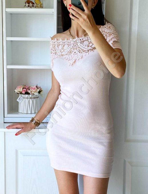 Дамска рокля в розово с дантела на деколтето-код 2227-3