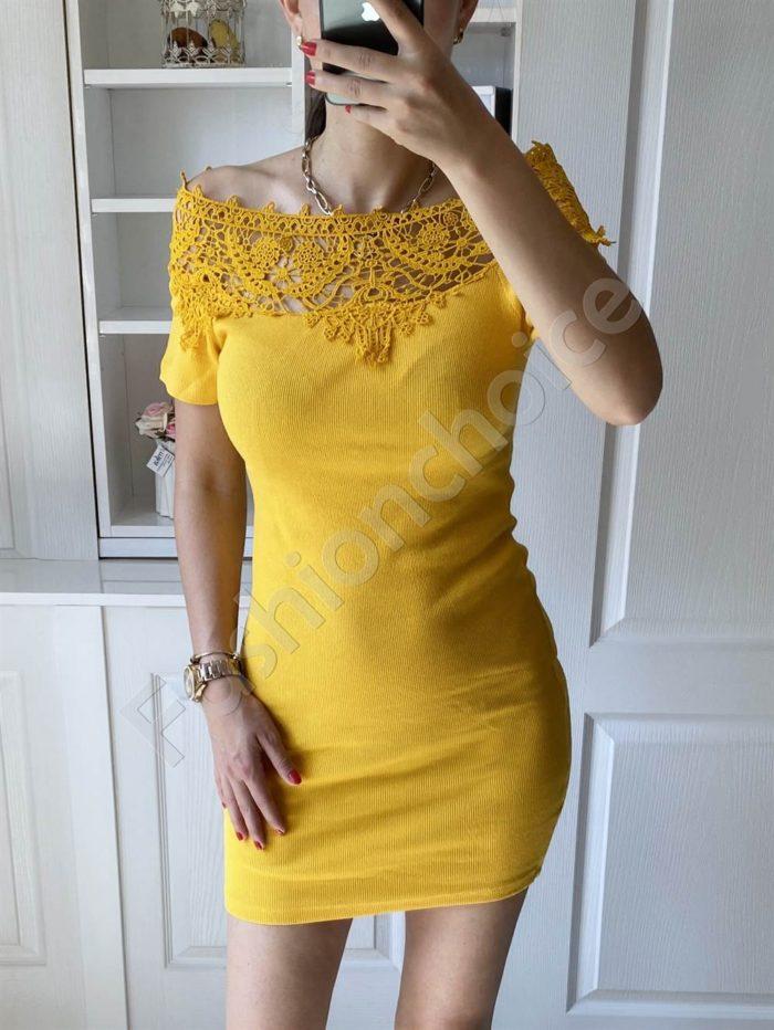 Дамска рокля в жълто с дантела на деколтето-код 2227-2