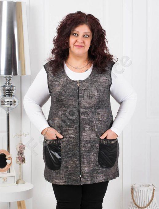 Прекрасен дамски макси елек с джобчета от промазка