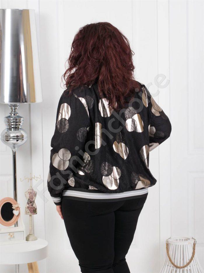 Тънко дамско макси яке на сребристи точки