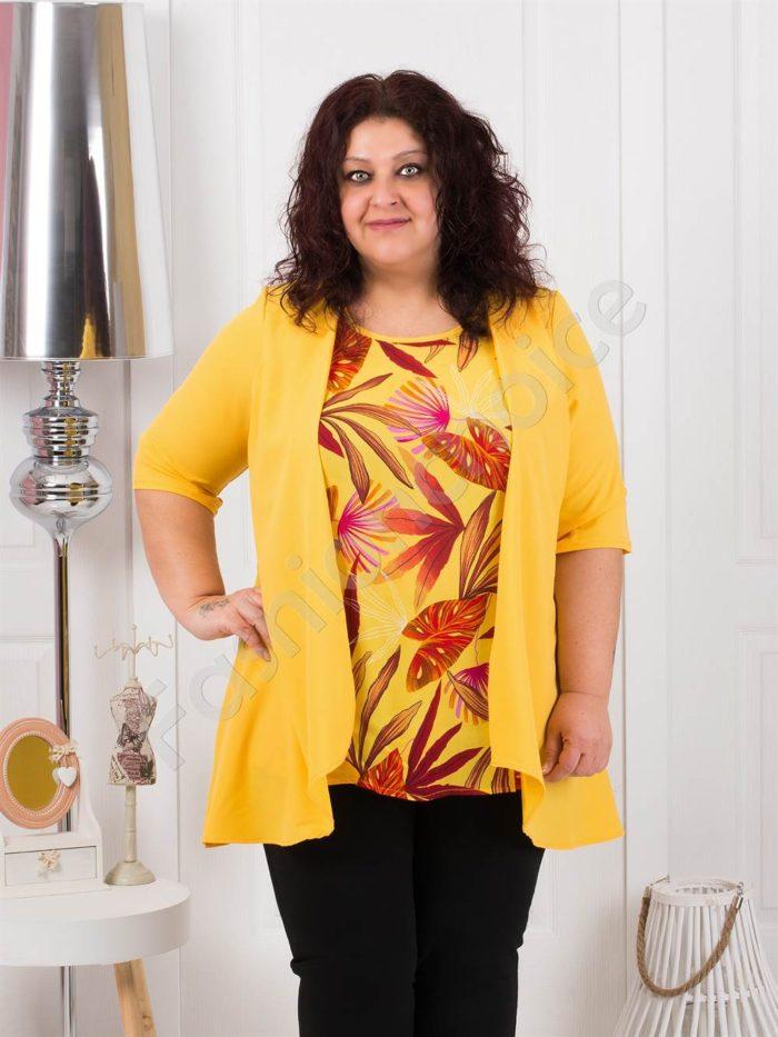 Свежа и красива дамска макси туника в жълто-код 1187