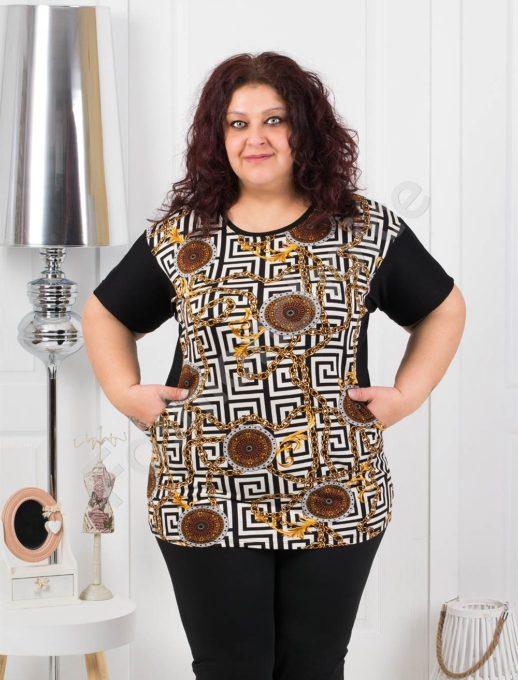 Дамска макси блуза с мотиви тип Версаче- черно код 374