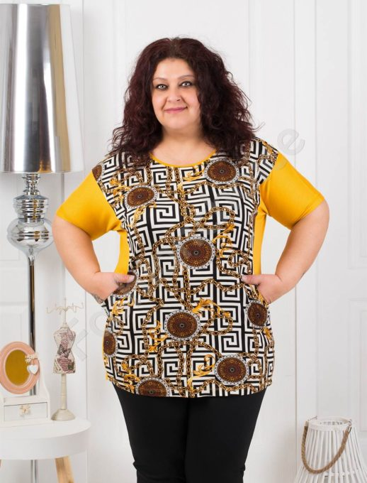 Дамска макси блуза с мотиви тип Версаче в цвят горчица код 374-1