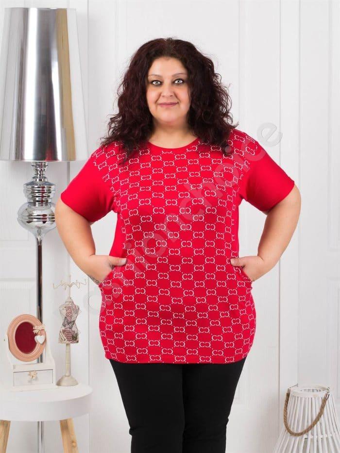 Комфортна макси блуза на фигурки в червен цвят код 370-3