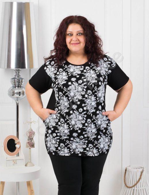 Нежна макси блуза на цветя с джобчета-черно код 371