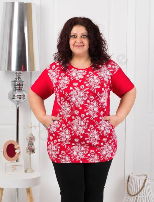 Червена макси блуза на цветя с джобчета- код 371-3