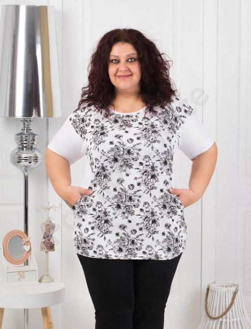Нежна макси блуза на цветя с джобчета- бяло код 371-4