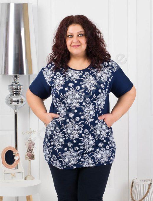 Нежна макси блуза на цветя с джобчета-тъмносиньо код 371-1