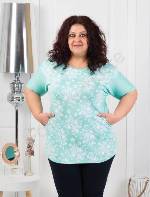 Нежна макси блуза с джобчета- цвят мента код 371-2
