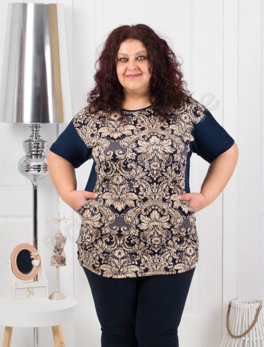 Модерна макси блуза с абстрактни мотиви-код 373