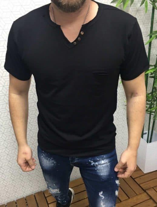 Черна мъжка тениска с копченца Код 102