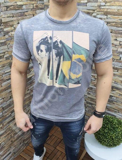 Мъжка тениска BRAZIL в светлосив цвят-код 339