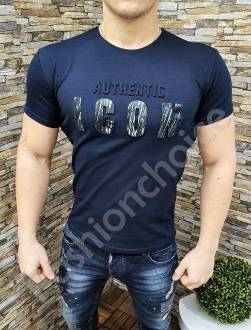 Мъжка slim fit тениска с апликация в тъмносиньо