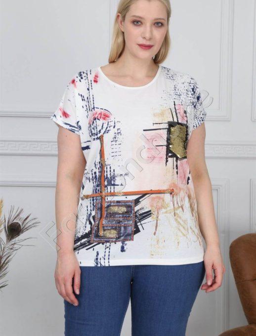 Красива дамска макси блузка с 3 D ефект и пайети